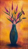 Flowers in a vase, dryed up, on bright orange background, color painting Stock Image
