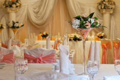 Flowers in the vase. Elegance table set up for wedding Royalty Free Stock Photo