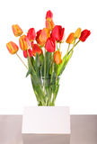 Flowers in vase with message card Stock Images