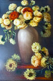 Flowers in a vase oil painting Royalty Free Stock Photography