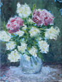 Flowers in a vase oil painting. Original oil painting flowers in a vase on canvas. Impasto artwork. Impressionism art Stock Image