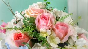 Flowers in vase. Pretty pink flowers bouquet in green vase Stock Photos