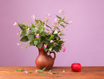 Flowers in a vase and red apple Royalty Free Stock Photo