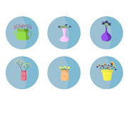 Flowers in a vase set. Beautiful  illustration . Stock Photography