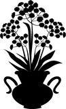 Flowers in a vase. Silhouette of flowers in black vase Stock Images