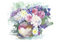 Flowers in a vase. Watercolor painting. Bouquet of roses, peonies and violets in ceramic pot on white background royalty free illustration