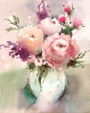 Flowers in a Vase Watercolor Still Life Illustration Hand Painted Stock Image