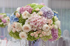 Flowers in a vase for the wedding ceremony. Royalty Free Stock Images