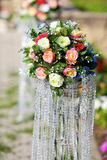 Flowers in a vase for the wedding ceremony. Royalty Free Stock Photo