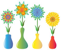 Flowers in vases Royalty Free Stock Images
