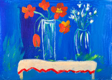 Flowers in vases acrylic painting by Kay Gale. Flowers in two vases on a table with a blue background in acrylic painting by Kay Gale Royalty Free Stock Photos