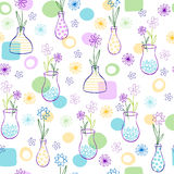 Flowers in Vases Pattern. Conversational Flowers in Vases Seamless Repeat Pattern Vector Illustration eps royalty free illustration