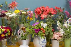 Flowers in vases. Summer flowers in vintage vases Stock Image