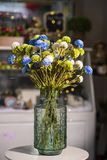 Flowers in vases used for home decoration. On blur background royalty free stock photo