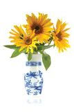 Flowers in a vaze. Sunflowers in a vase isolated Royalty Free Stock Photos