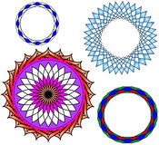 Flowers Vector. Black and purple, green colorful,blue,sky blue round Flowers,circle Guiloche Royalty Free Stock Images
