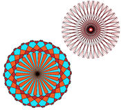 Flowers Vector. Black and red, colorful, round Flowers,circle Guiloche Royalty Free Stock Photo