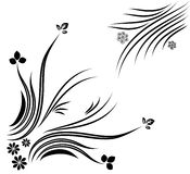 Flowers Vector. Black and White Flowers, grass Stock Image