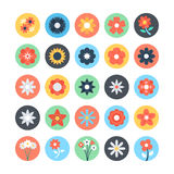 Flowers Vector Colored Icons 3 Royalty Free Stock Photos