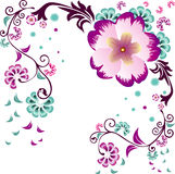 Flowers vector composition. Abstract flowers vector illustration composition over white background Stock Photography