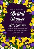 Flowers vector engagement party bridal shower. Engagement party or bridal shower invitation card. Vector design of blooming flowers bouquet with callas, tulips Stock Photo