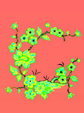 Flowers. Vector illustration. Beautiful Asian style. Card Royalty Free Stock Photos