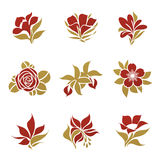 Flowers. Vector logo template set. stock illustration