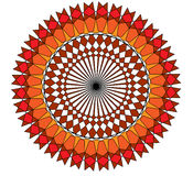 Red, Orange Mandala. Multi color,round Flowers,circle Guiloche. Very fancy design Stock Images