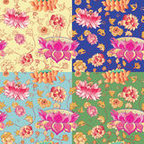 Flowers vector pattern with lotuses Royalty Free Stock Image