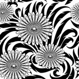 Flowers vector seamless pattern. Black and white floral beautifu. L background wallpaper with abstract flowers, leaves and hand drawn vintage ornaments. Isolated stock illustration