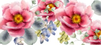 Flowers Vector watercolor. Beautiful exotic background decors stock illustration