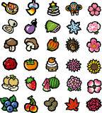 Flowers, vegetables, food icon collection Royalty Free Stock Photos
