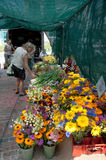 Flowers & Veggies at Farmer's Market Stock Photo