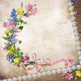 Flowers on the vintage background with lace Stock Photography