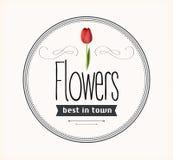 Flowers vintage retro label Royalty Free Stock Photo