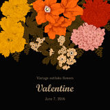 Flowers. Vintage. Vector illustration. Vector vintage illustration with flowers. Festive bouquet for a card Royalty Free Stock Photography