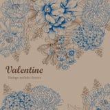 Flowers. Vintage. Vector illustration. Vector vintage illustration with flowers. Festive bouquet for a card Stock Photos