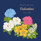 Flowers. Vintage. Vector illustration. Vector vintage illustration with flowers. Festive bouquet for a card. Classical frame Stock Photo