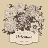 Flowers. Vintage. Vector illustration. Vector vintage illustration with flowers. Festive bouquet for a card. Classical frame Royalty Free Stock Photo
