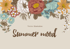 Flowers. Vintage. Vector illustration. Stylish card. Botany. Floral pattern.  Classical frame. Stock Images