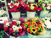 Flowers Vitrine Street Decoration Gifts Royalty Free Stock Images