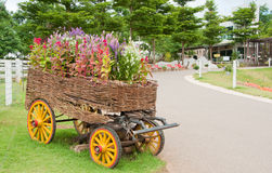 Flowers wagon Stock Images