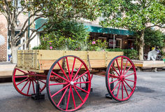 Flowers in Wagon with Red Wheels Stock Photo