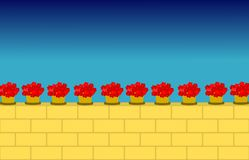 Flowers upon wall. Flowers' vases upon tuff wall vector illustration