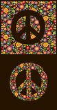 Flowers wallpaper with peace symbol Royalty Free Stock Photo