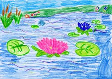 Flowers on water. child drawing. Royalty Free Stock Images