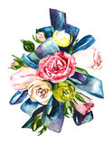 Flowers watercolor  Bouquet and boutonniere . Stock Photography