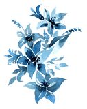 Flowers watercolor illustration. Isolated objects on white background  for design and card royalty free illustration