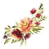 Flowers Watercolor Illustration. A Bouquet With A Big Red Peony And Small Flowers In Bright Colors. Watercolor Stock Image