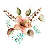 Flowers watercolor illustration, Template for greeting card. For wedding, birthday and other holiday Royalty Free Stock Image